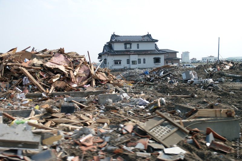 Lonely house among debris