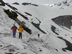 Skiing on the mount Elbrus slopes
