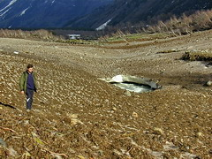 Baksan river covered by avalanche debris